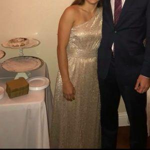 Lulu's Gold One-Shoulder Bridesmaids Dress